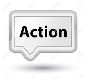 Action isolated on prime white banner button abstract illustration